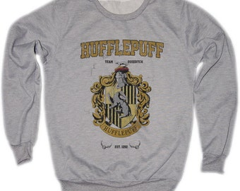 Hufflepuff Harry Potter Hogwarts Quidditch Team Festival Retro VTG Jumper Sweater Sweatshirt Long Sleeve Crewneck Round neckline S M L