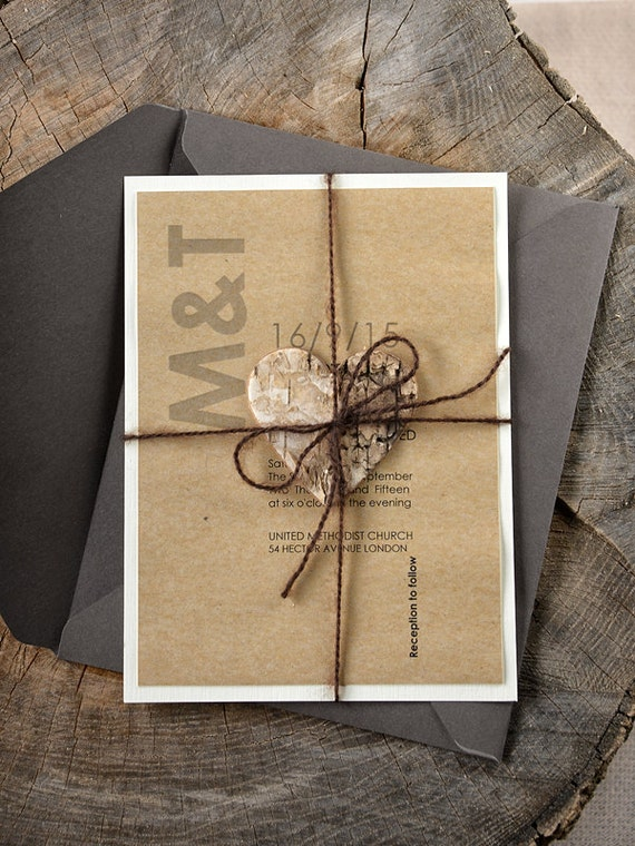 rustikal Holz Hochzeitseinladung, Birken Herzen Hochzeitseinladungen ...