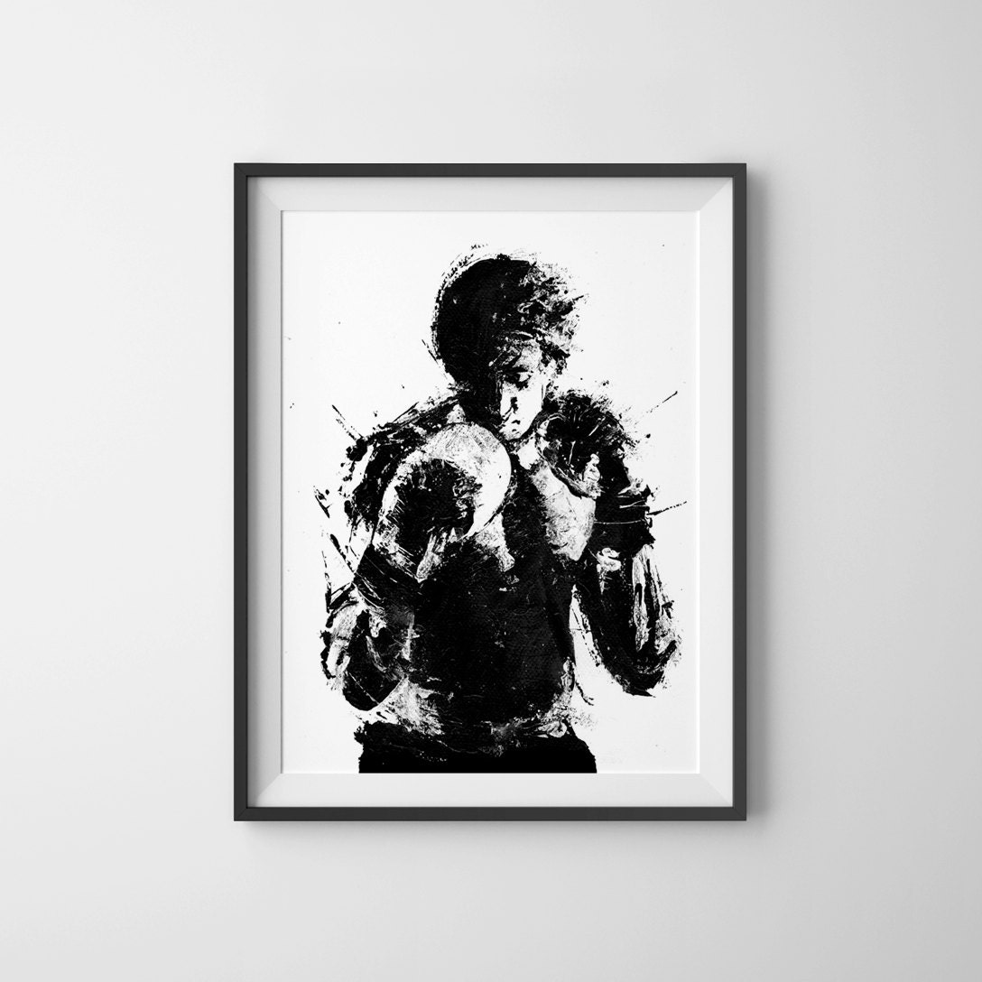 Rocky Movie Poster Art Print Black and White Art Boxing