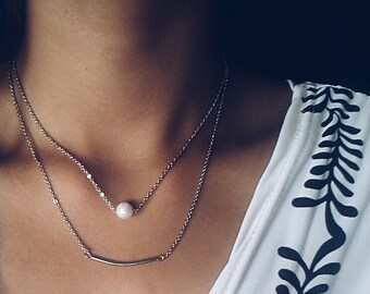 Natural Pearl Necklace and Silver Coated Bar Necklace