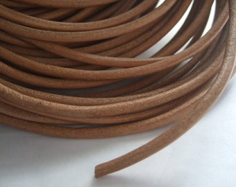 1 meter Round Natural Leather Cord 4mm