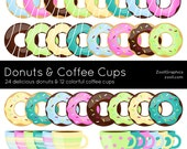 Donuts And Coffee Cups, 36 PNG Files, Clip Art, Commercial Use, INSTANT DOWNLOAD