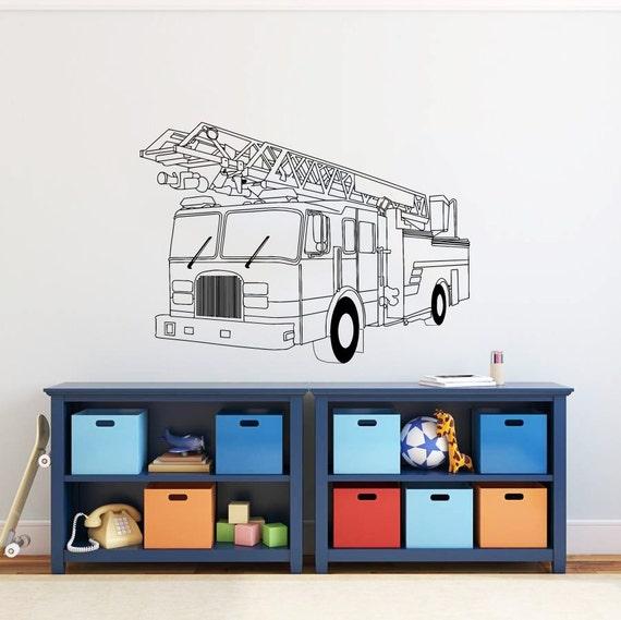 fire truck wall decal vinyl sticker decals art by life size fire truck wall decal shop fathead 174 for police