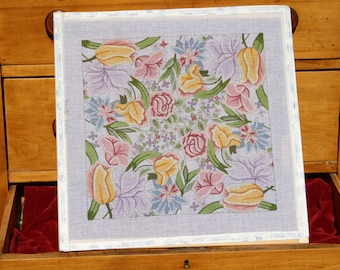Mix of Pastel Flowers, Hand Painted Stretched Needlepoint Canvas on Wooden Frame