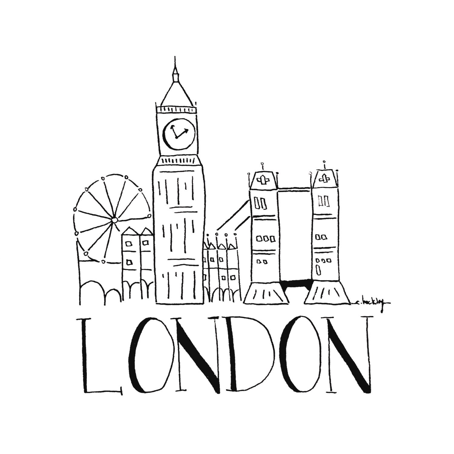 City sketch london black and white illustration for Small drawing ideas