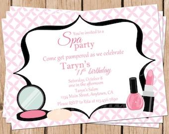 Tween Birthday Invitations, Spa Party Invitations, Teen Birthday Invites, Salon Birthday, Spa Birthday Invites, Girl's Birthday Invitations