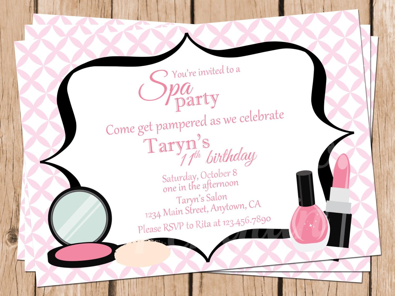 Tween Birthday Invitations Spa Party Invitations Teen