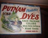 SALE SALE SALE Vintage Putnam Dyes counter top display advertising sample box