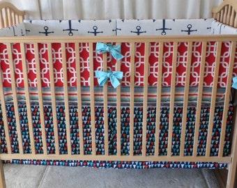 Unique Crib Bedding in Nautical Theme. Bumpers, Sheet, Skirt. Navy/Red/Aqua **Sailor**