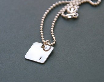 Hand Stamped Sterling Silver Square Initial Necklace, Minimalist Necklace, Square Initial, Tiny Initial Necklace, Sterling Silver Square