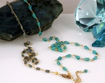 "Labradorite Apatite Gemstone Bead Gold 38"" Long Layering Necklace"