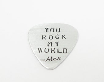 "custom guitar pick,Guitar Pick ,""You rock my world"" music lover, boyfriend, girlfriend."