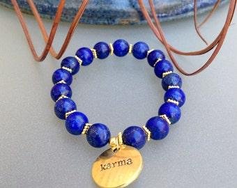 SALE!Lapis Bracelet/Lapis Lazuli Beads/Lapis Bracelet/ Lapis Beads/Blue Lapis/Boho Beaded Bracelet/Karma Bracelet/Karma Charm/Lapis Gemstone