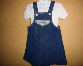 VINTAGE 70's a-line dress / overalls dress / skirt at ramp with his sweater / size 2 years