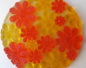 Vintage 1970s Molded Plastic Flower Trivet - Flower Power - Orange and Yellow