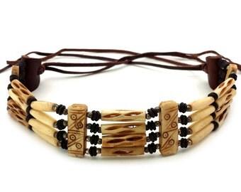 Handmade Native American 4 Line Buffalo Bone Hairpipe Choker Necklace