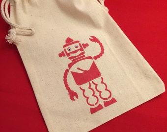 Robot Favor Bags: Muslin Bags With Robot Design