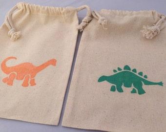 Dinosaur Favor Bags: Dinosaur Party Bags, Muslin Drawstring Reusable Treat Bags for a Dinosaur Party