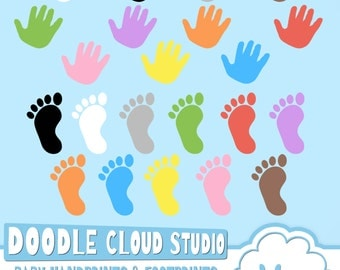 Colorful Baby FootPrints & Handprints Cliparts, Baby Hands Foot prints , Transparent / White Backgrounds, Instant Download, Commercial Use