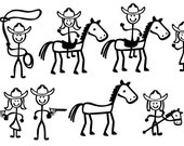 Stick Figure People Family (Cowboy Themed) - Vector Art SVG Files