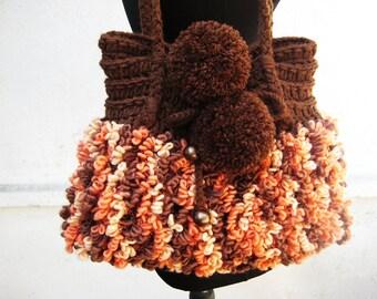 Pom Pom Bag, Purse Crochet Handbag, Gift for girlfriend, Winter gift, Brown  Handbag, Crochet handbag, Gift for wife, Crochet Purces