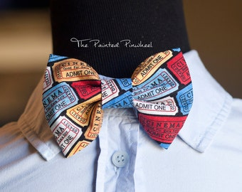 Cinema Ticket Theme Patterned Bow, Bow Tie, Pocket Square