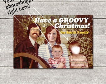 Funny Custom Christmas Card | Holiday Card | Photoshopped 70's Family | Digital File