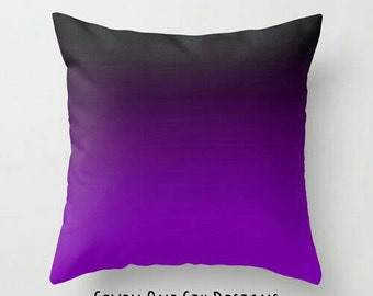 Purple Black Pillow, Purple Black Ombre Pillow, Purple Gradient Pillow, Purple Toss Pillow, Purple Pillow, Purple Black Decor, Purple Room