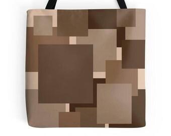 Brown Bag, Geometric Bag, Brown Tote Bag, Abstract Print
