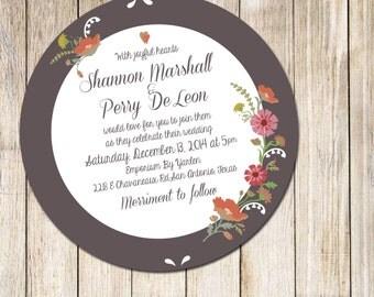 Vintage Murdock Floral Wedding Invitations (Luxe Circle Cut)