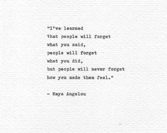 """Maya Angelou Vintage Letterpress Typewriter Quote """"People will forget"""" Inspirational Hand Typed Literary Art Wisdom Print Poetry Book Quote"""