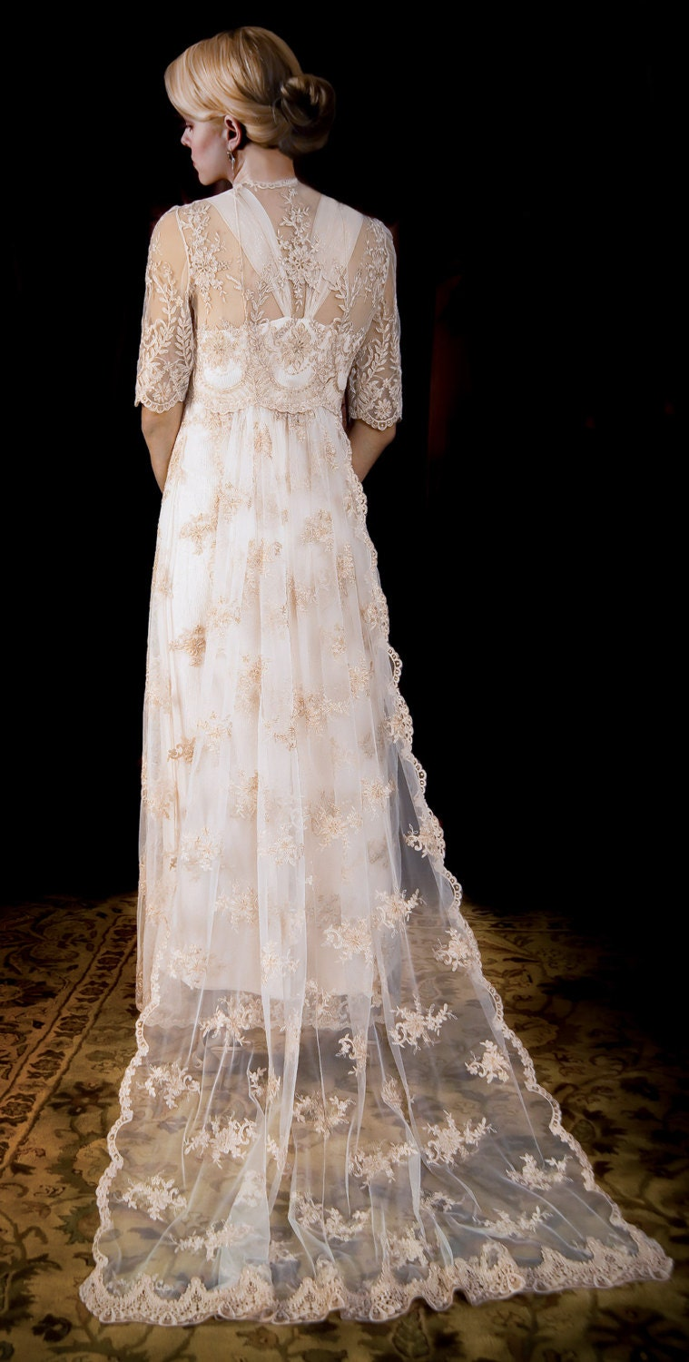 Wedding Dress of French Alencon Lace over by ...