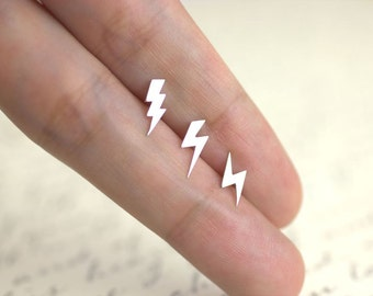 Lightning Bolt Earrings, 100% sterling silver, Tiny Lightning Bolt Studs, Lightning Studs