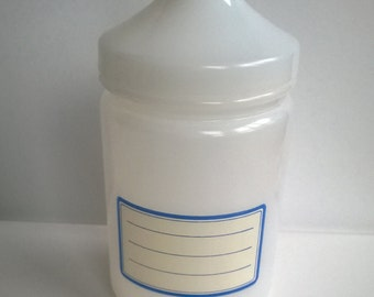 Vintage/Jar/French/Milk Glass/Lidded/Re-Writable Lable