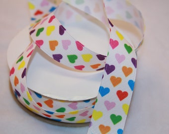 "7/8"" or 1 1/2"" widths rainbow hearts grosgrain ribbon-your choice R13"