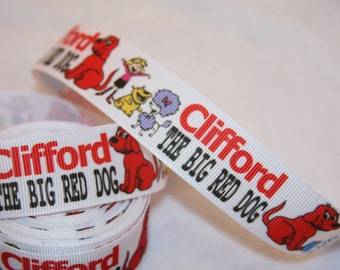 """Clifford the big red dog inspired grosgrain ribbon 1""""  R135"""
