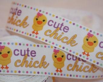 """cute chick grosgrain ribbon 1""""  R137"""