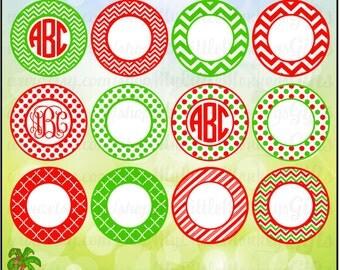 12 Christmas Monogram Bases Chevron, Polka Dot, Quatrefoil, Print or Layer Digital File JPEG SVG Instant Download