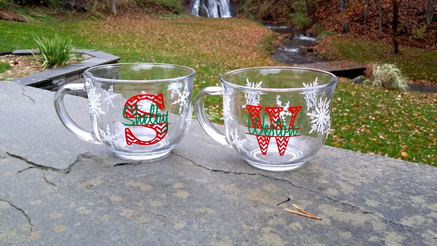 Christmas snowflakes mugs personalized coffee cup. by Giftability