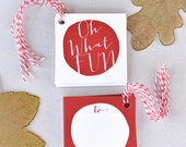 Oh what Fun Gift Tags, Set of 10 Gift tags, Gift wrapping tags, Holiday gift tags, Red and white Tags