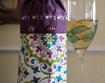 Deluxe Wine Bag-Whimsical Collection (Burgandy)