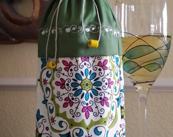 Deluxe Wine Bag-Whimsical Collection (Olive)