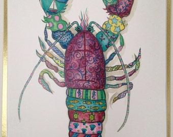Colorful Lobster print of my original watercolor, image is 11 x 14.  Check out his buddy the crab print.  They look great together!
