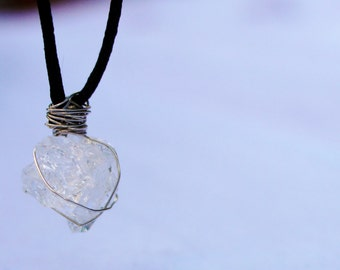Quartz Crystal Necklace Wire Wrapped -Small