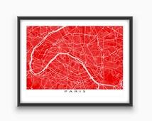 Paris Map, Paris France Map Print, Paris City Street Art