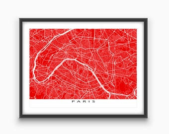 Paris Map, Paris France Map Print, Paris City Street Art