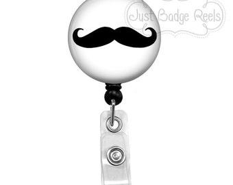 Badge Holder - Mustache Badge Reel - Mustache Badge Holder - Retractable Badge Reel - Nurse Badge Holder  1003