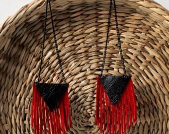 Black red fringe leather earrings