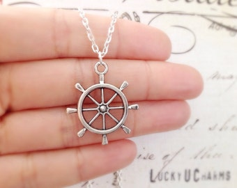 Ship Wheel Necklace, Helm Necklace, Nautical Necklace, Best Friends Jewelry, Nautical Jewelry, Ocean Beach Sea Jewelry, Travel Jewelry, Gift