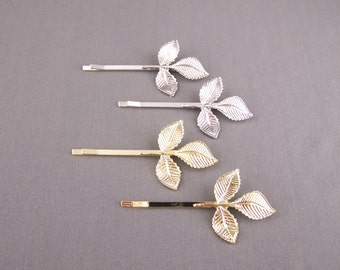 leaf bobby pin set of 2 shiny Gold or Silver Laurel leaves bobbi pins clip barrette hairpin accessory